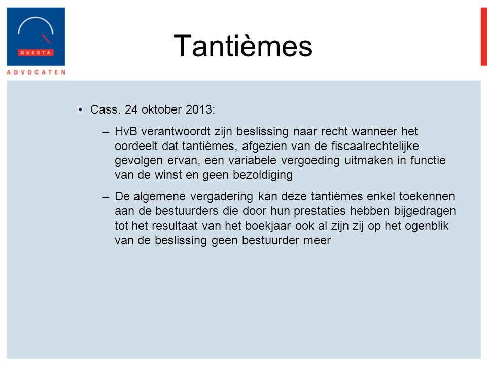 Tantièmes Cass. 24 oktober 2013: