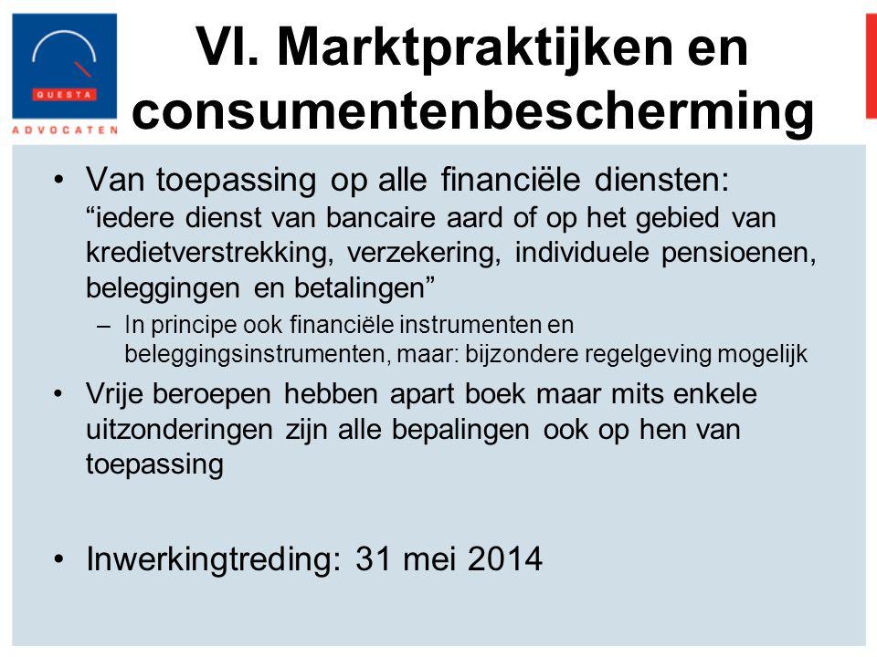 VI. Marktpraktijken en consumentenbescherming