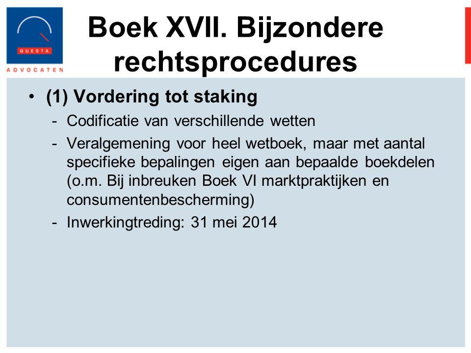 Boek XVII. Bijzondere rechtsprocedures