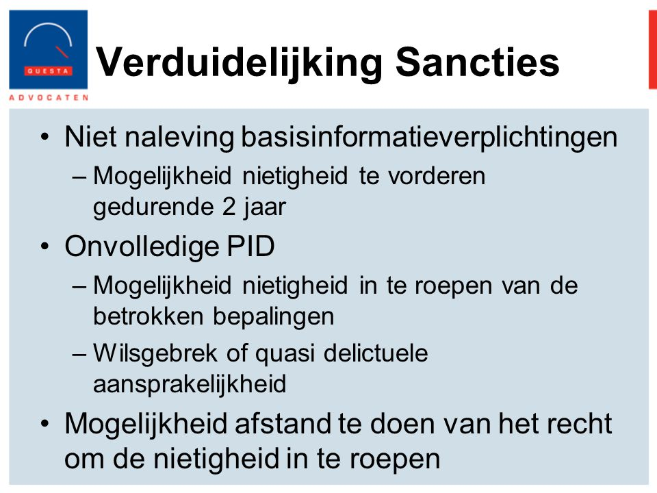 Verduidelijking Sancties