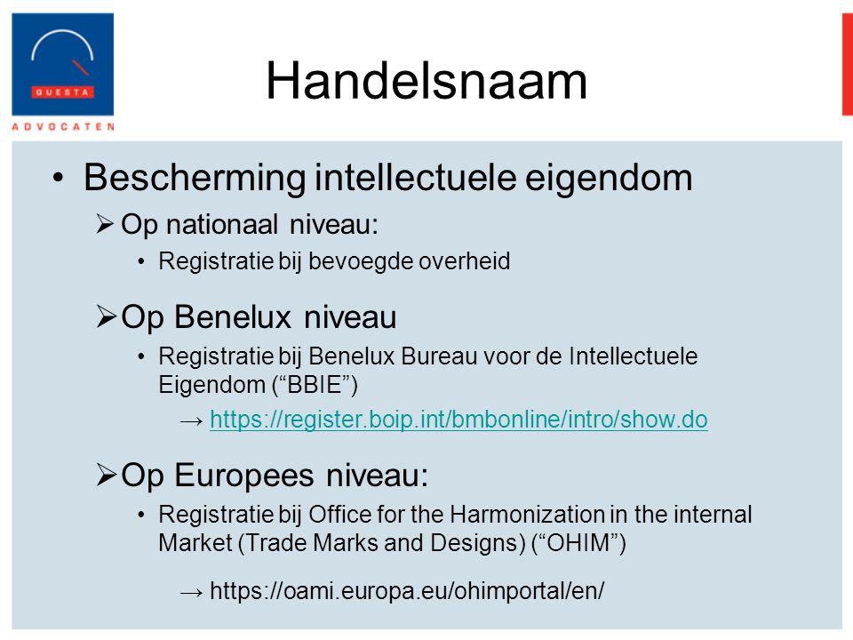 Handelsnaam Bescherming intellectuele eigendom Op Benelux niveau