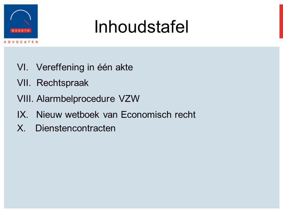 Inhoudstafel Vereffening in één akte Rechtspraak Alarmbelprocedure VZW