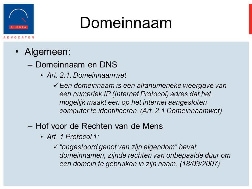 Domeinnaam Algemeen: Domeinnaam en DNS Hof voor de Rechten van de Mens