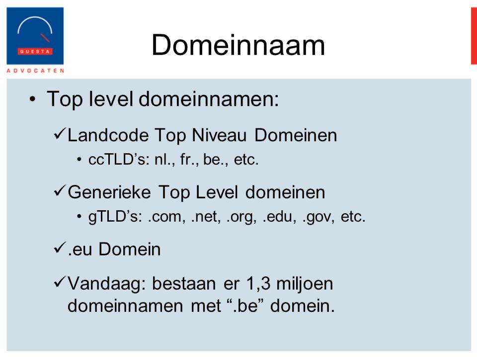 Domeinnaam Top level domeinnamen: Landcode Top Niveau Domeinen