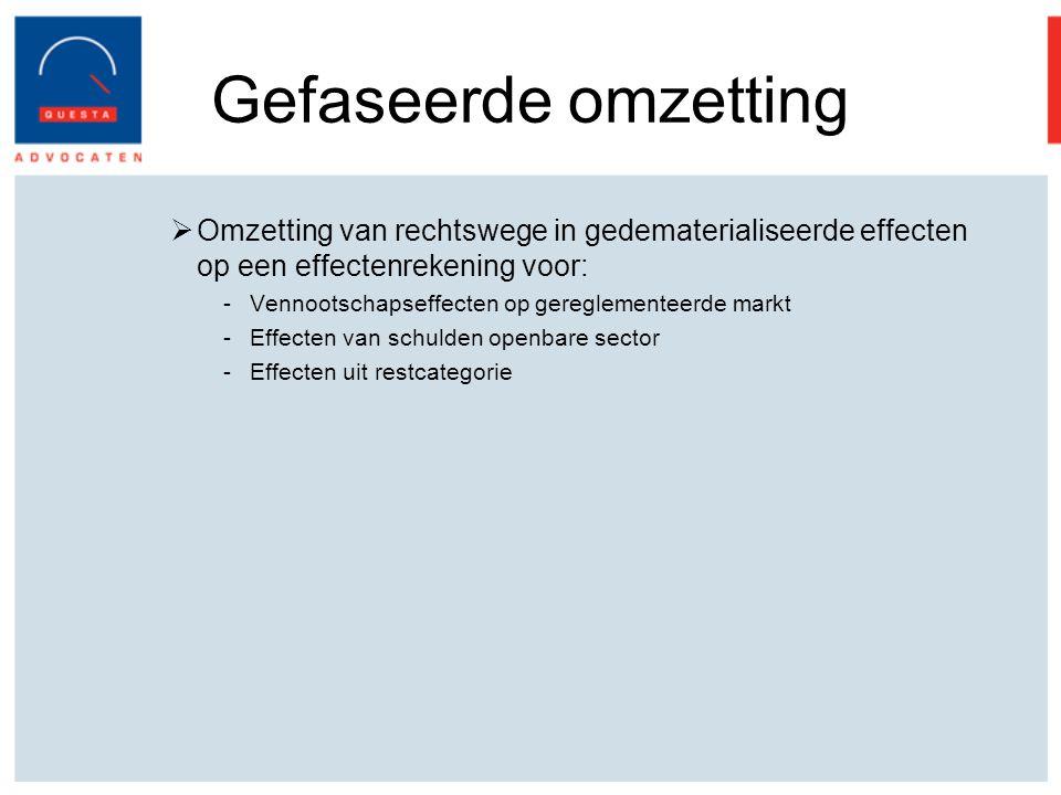Gefaseerde omzetting Omzetting van rechtswege in gedematerialiseerde effecten op een effectenrekening voor: