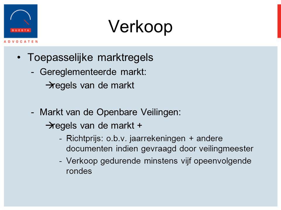 Verkoop Toepasselijke marktregels Gereglementeerde markt:
