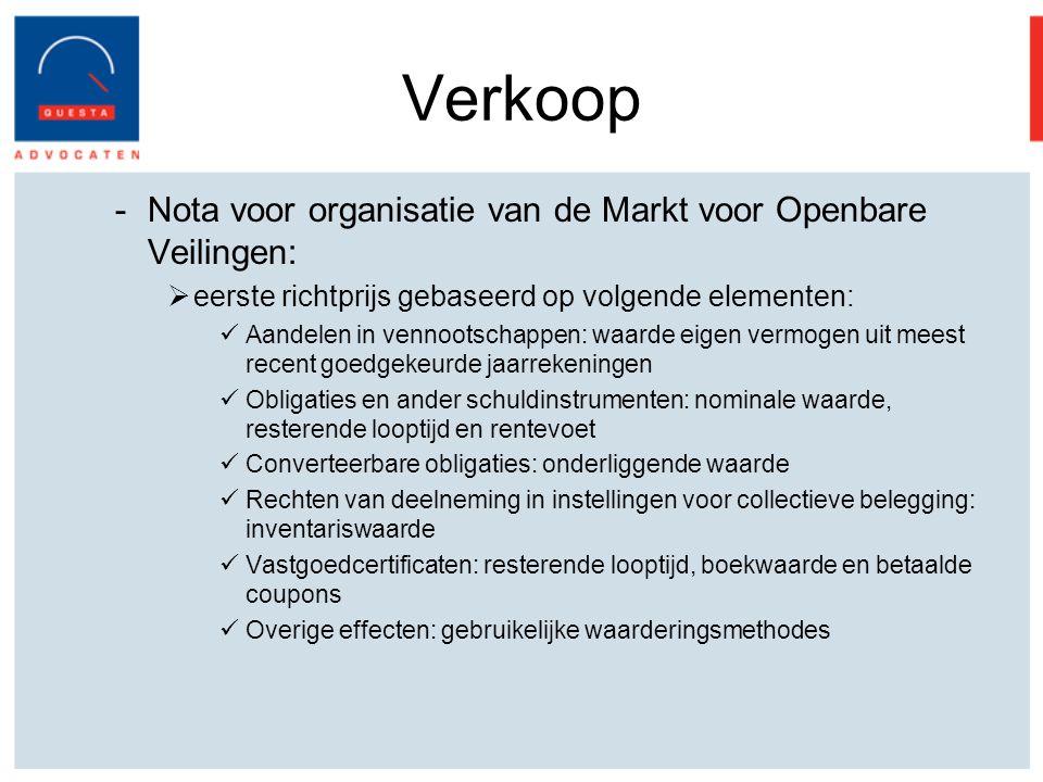 Verkoop Nota voor organisatie van de Markt voor Openbare Veilingen: