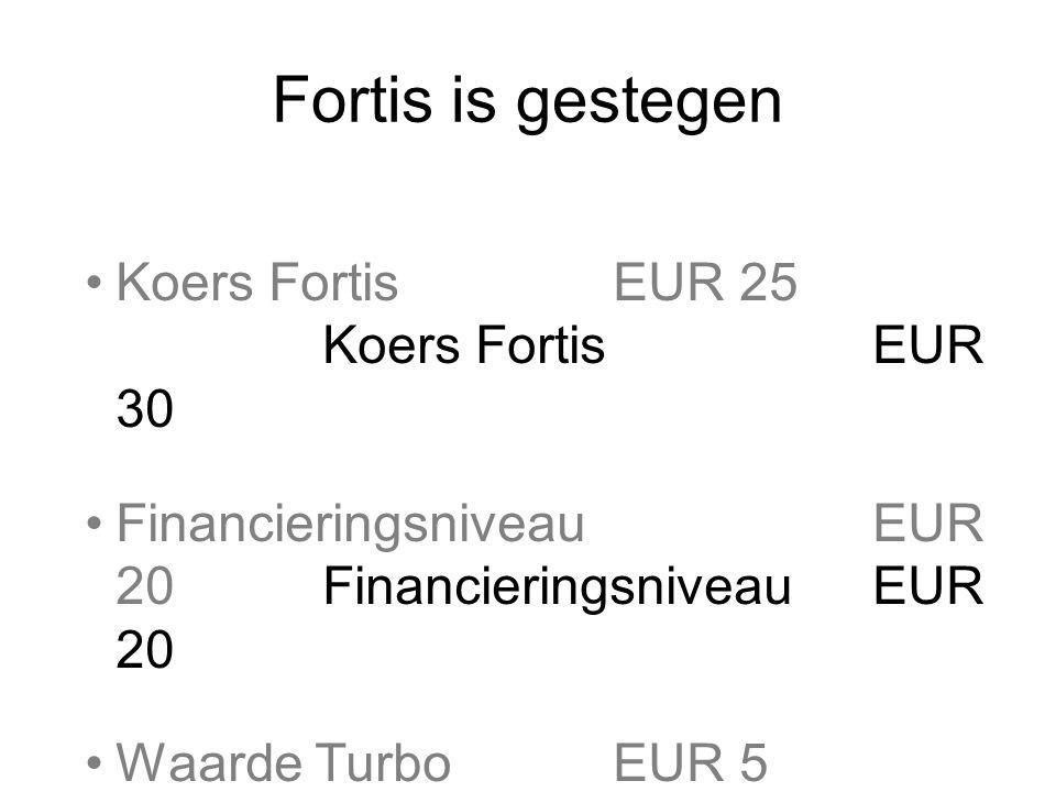 Fortis is gestegen Koers Fortis EUR 25 Koers Fortis EUR 30