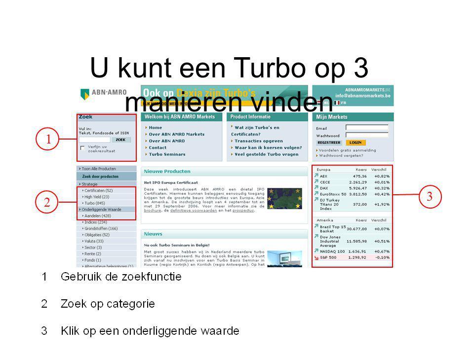 U kunt een Turbo op 3 manieren vinden
