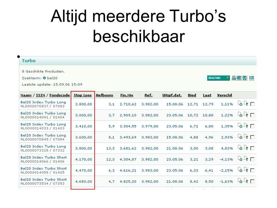 Altijd meerdere Turbo's beschikbaar