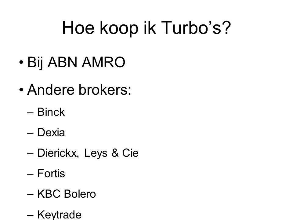 Hoe koop ik Turbo's Bij ABN AMRO Andere brokers:
