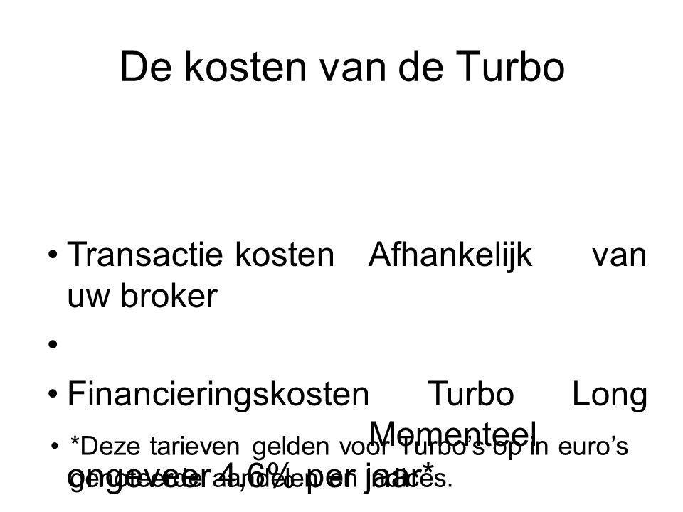De kosten van de Turbo Transactie kosten Afhankelijk van uw broker
