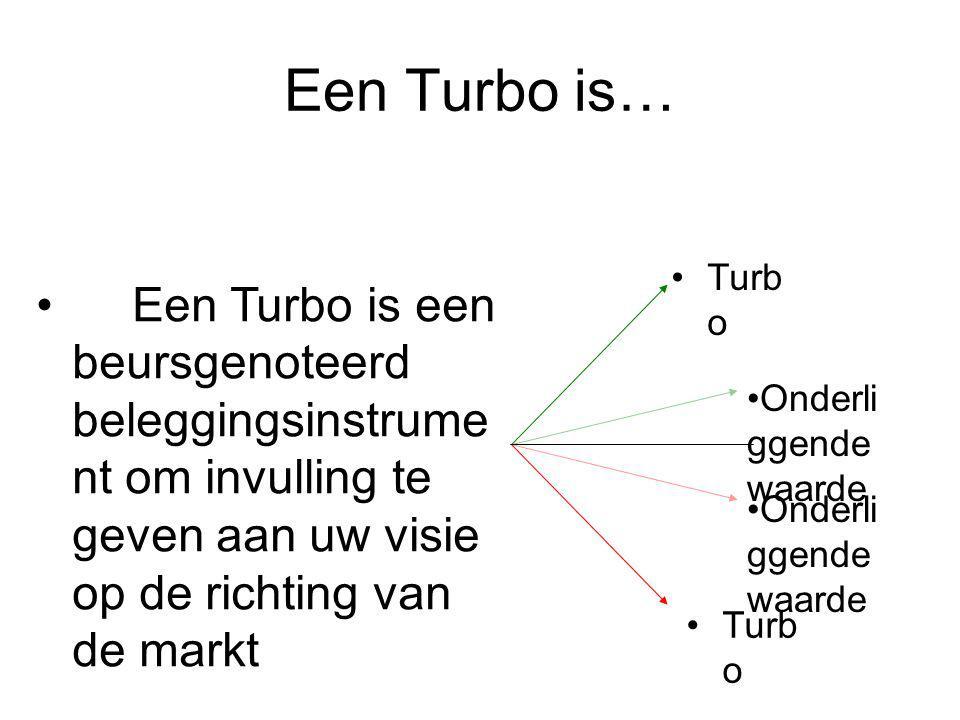 Een Turbo is… Turbo. Een Turbo is een beursgenoteerd beleggingsinstrument om invulling te geven aan uw visie op de richting van de markt.
