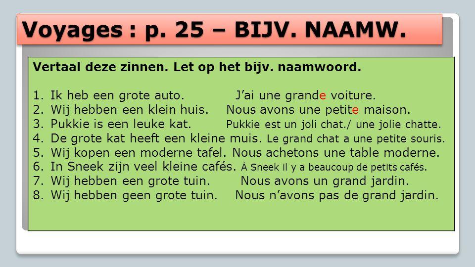 Voyages : p. 25 – BIJV. NAAMW. Vertaal deze zinnen. Let op het bijv. naamwoord. Ik heb een grote auto. J'ai une grande voiture.