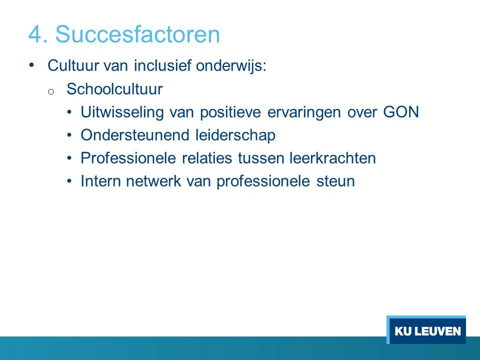 4. Succesfactoren Cultuur van inclusief onderwijs: Schoolcultuur