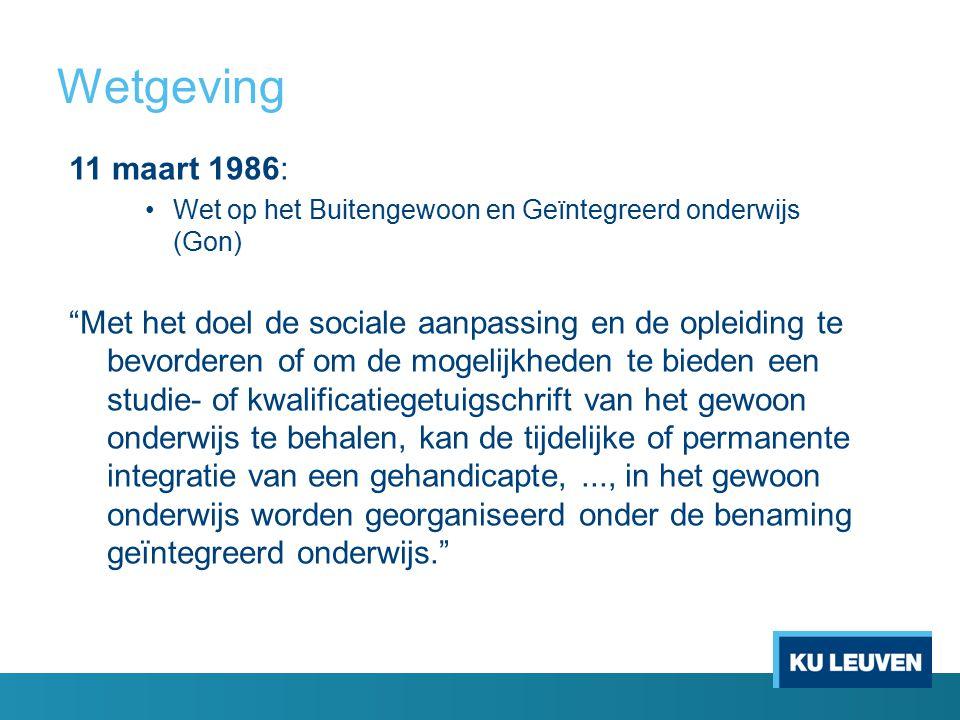 Wetgeving 11 maart 1986: Wet op het Buitengewoon en Geïntegreerd onderwijs (Gon)