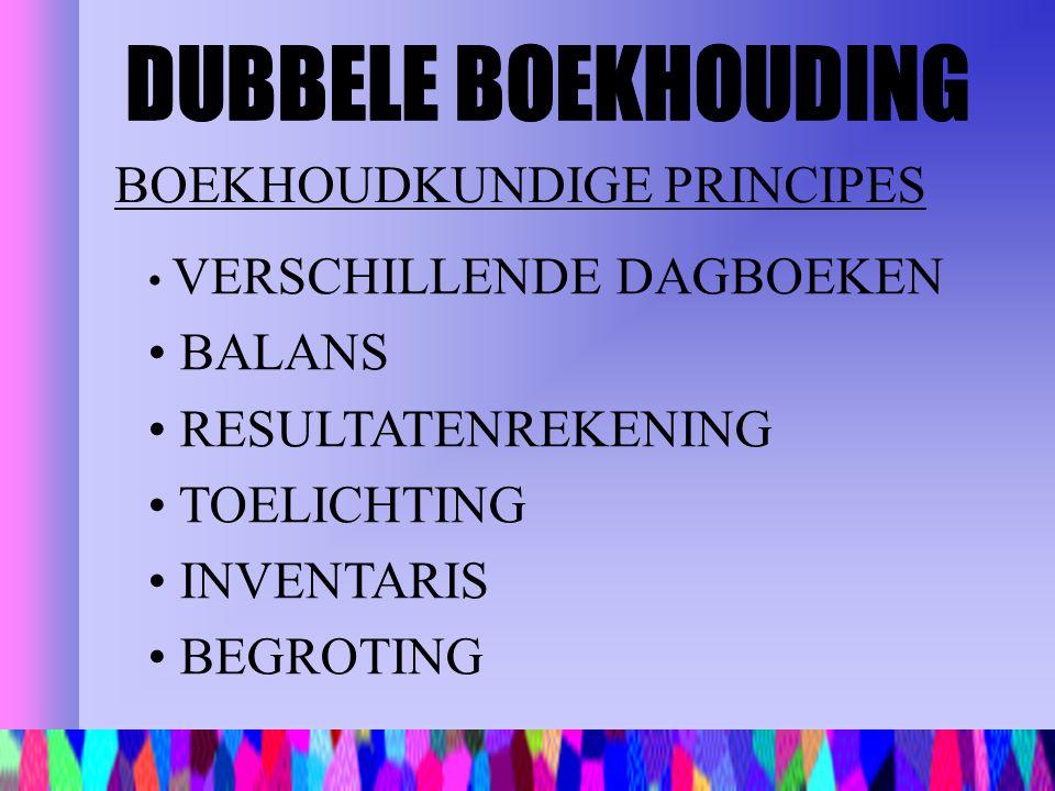 BOEKHOUDKUNDIGE PRINCIPES