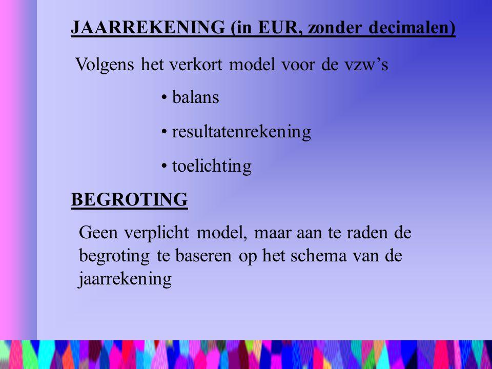 JAARREKENING (in EUR, zonder decimalen)