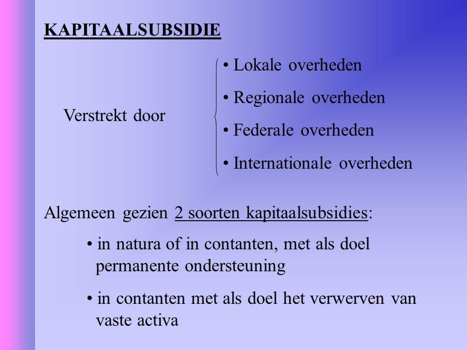 KAPITAALSUBSIDIE Lokale overheden. Regionale overheden. Federale overheden. Internationale overheden.
