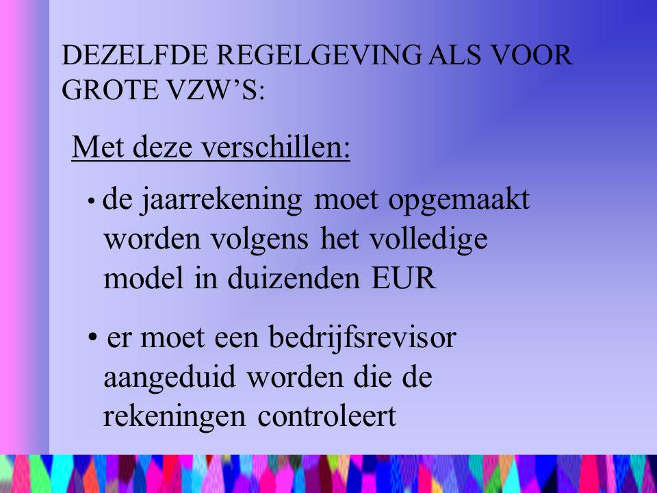 DEZELFDE REGELGEVING ALS VOOR GROTE VZW'S: