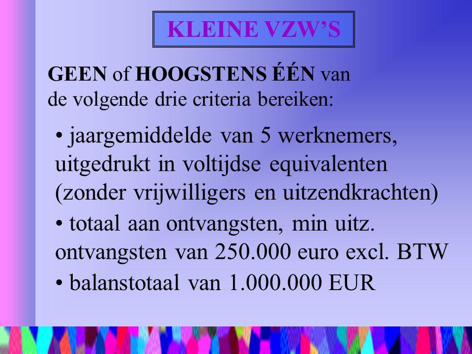 KLEINE VZW'S GEEN of HOOGSTENS ÉÉN van de volgende drie criteria bereiken: