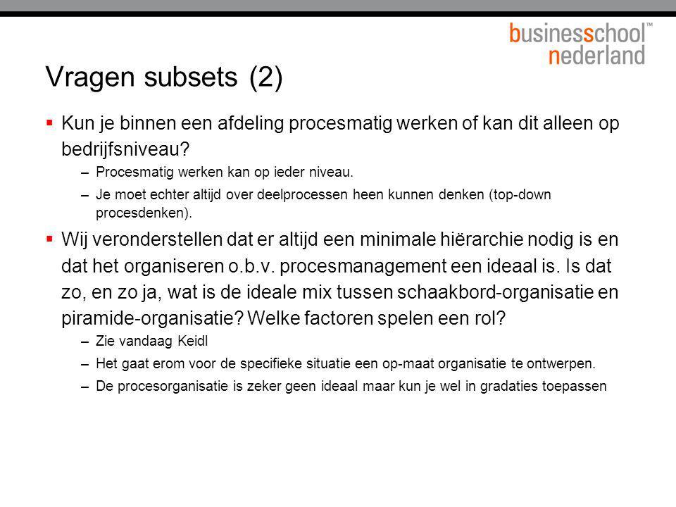 Vragen subsets (2) Kun je binnen een afdeling procesmatig werken of kan dit alleen op bedrijfsniveau