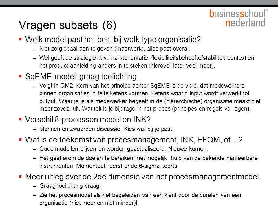 Vragen subsets (6) Welk model past het best bij welk type organisatie