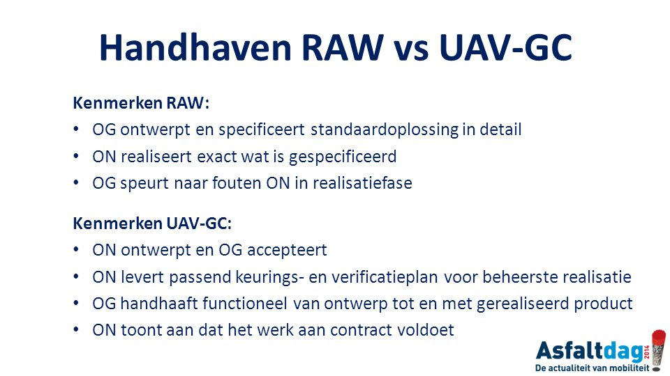 Handhaven RAW vs UAV-GC