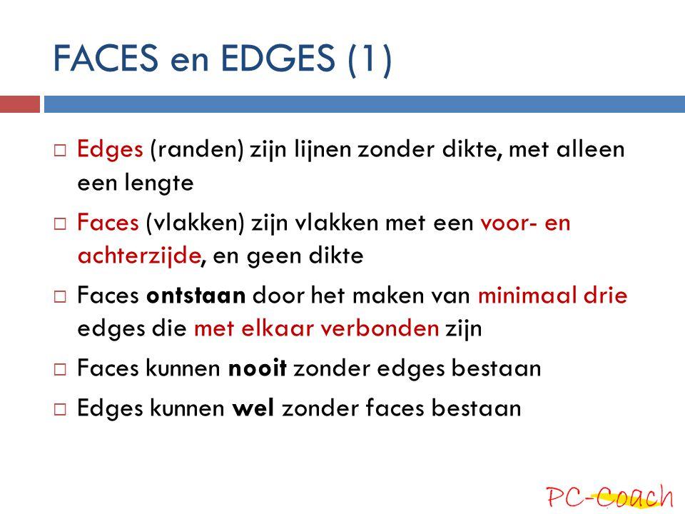 FACES en EDGES (1) Edges (randen) zijn lijnen zonder dikte, met alleen een lengte.
