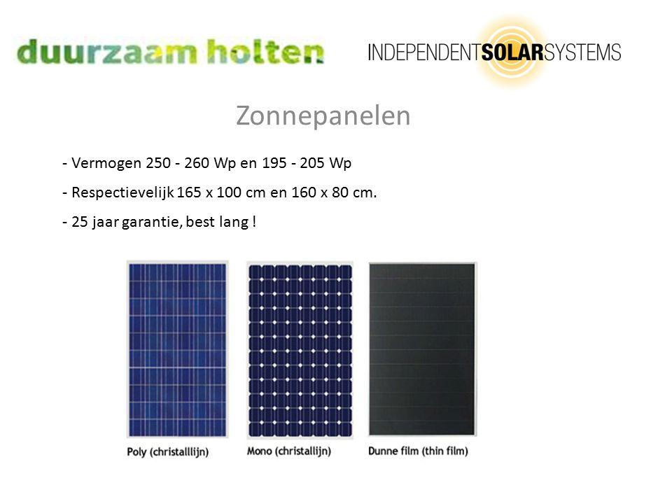 Zonnepanelen - Vermogen 250 - 260 Wp en 195 - 205 Wp - Respectievelijk 165 x 100 cm en 160 x 80 cm.