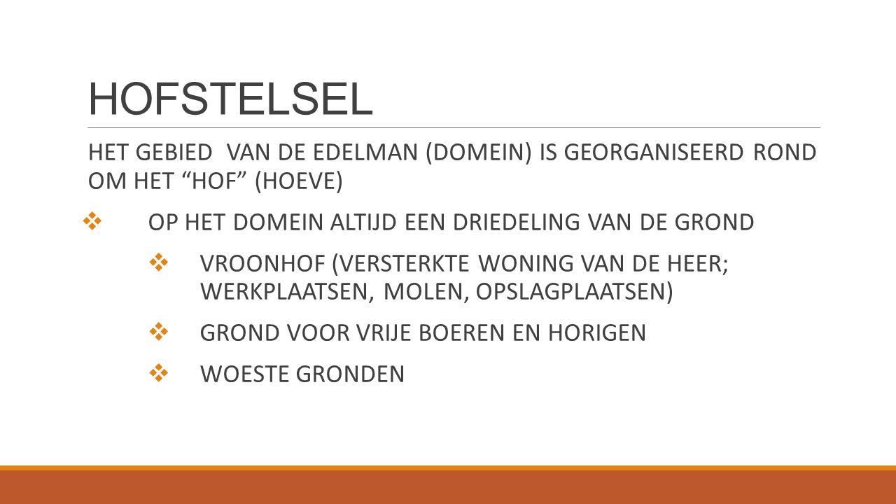HOFSTELSEL HET GEBIED VAN DE EDELMAN (DOMEIN) IS GEORGANISEERD ROND OM HET HOF (HOEVE) OP HET DOMEIN ALTIJD EEN DRIEDELING VAN DE GROND.