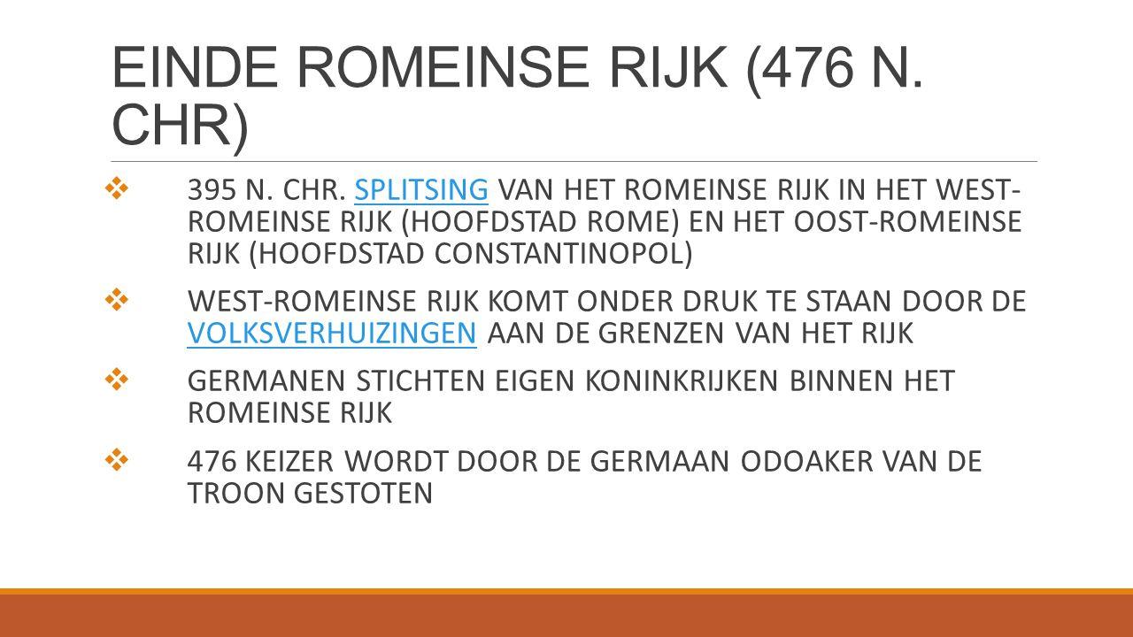 EINDE ROMEINSE RIJK (476 N. CHR)