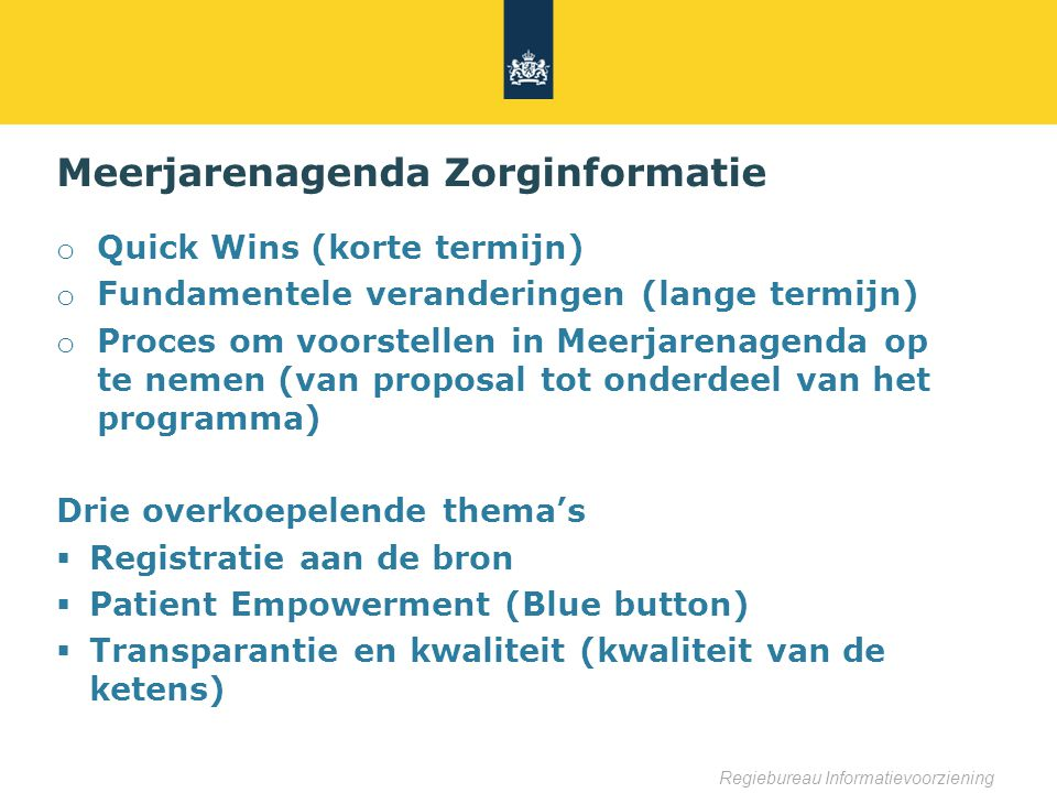 Meerjarenagenda Zorginformatie