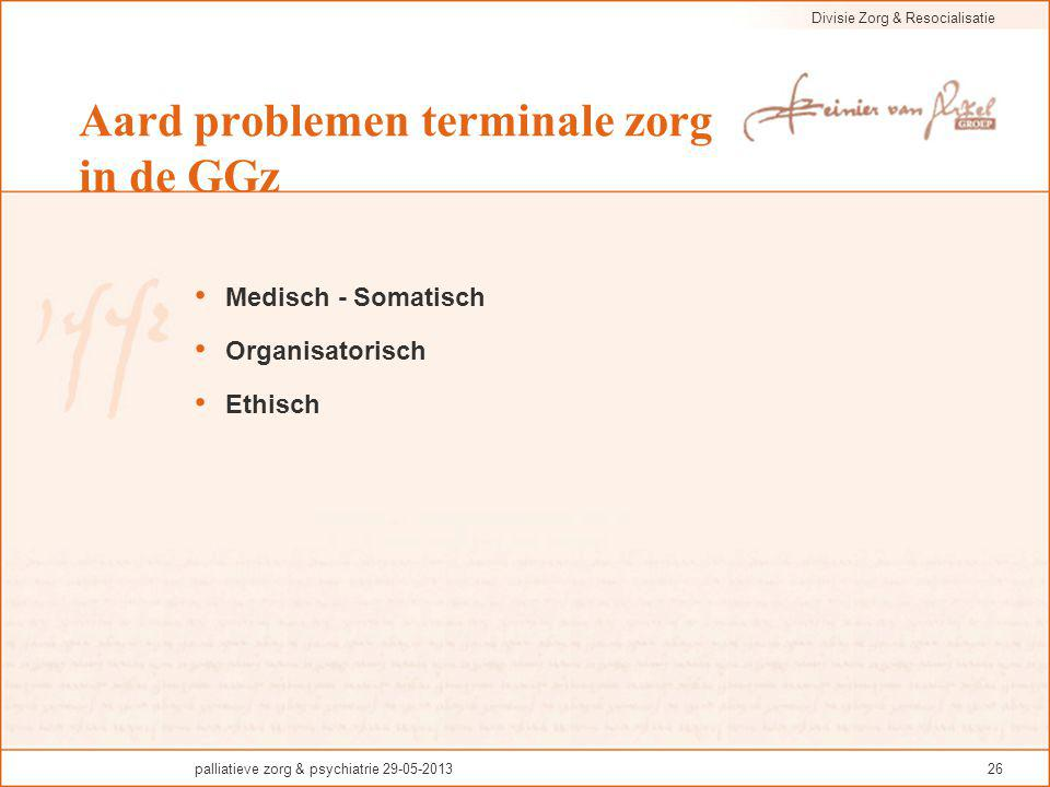Aard problemen terminale zorg in de GGz