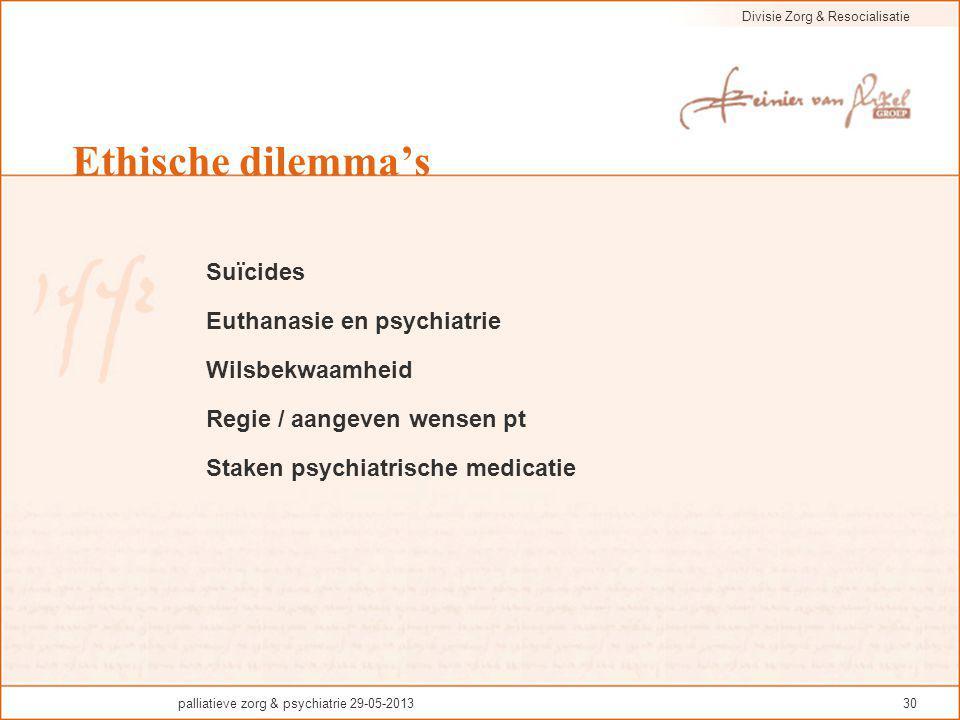 Ethische dilemma's Suïcides Euthanasie en psychiatrie Wilsbekwaamheid