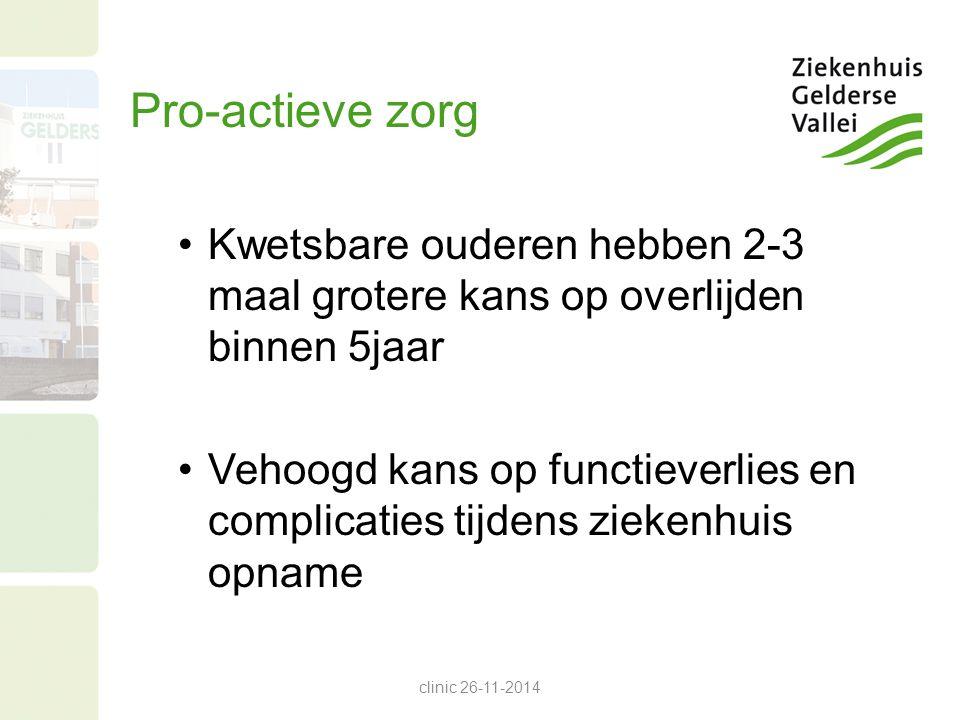 Pro-actieve zorg Kwetsbare ouderen hebben 2-3 maal grotere kans op overlijden binnen 5jaar.