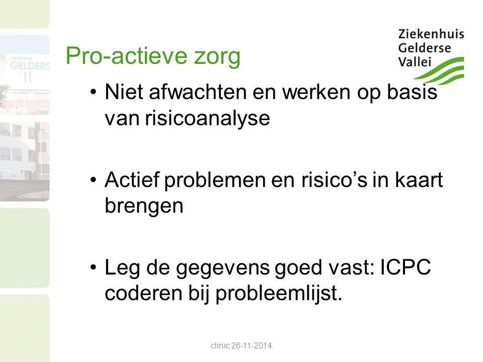 Pro-actieve zorg Niet afwachten en werken op basis van risicoanalyse