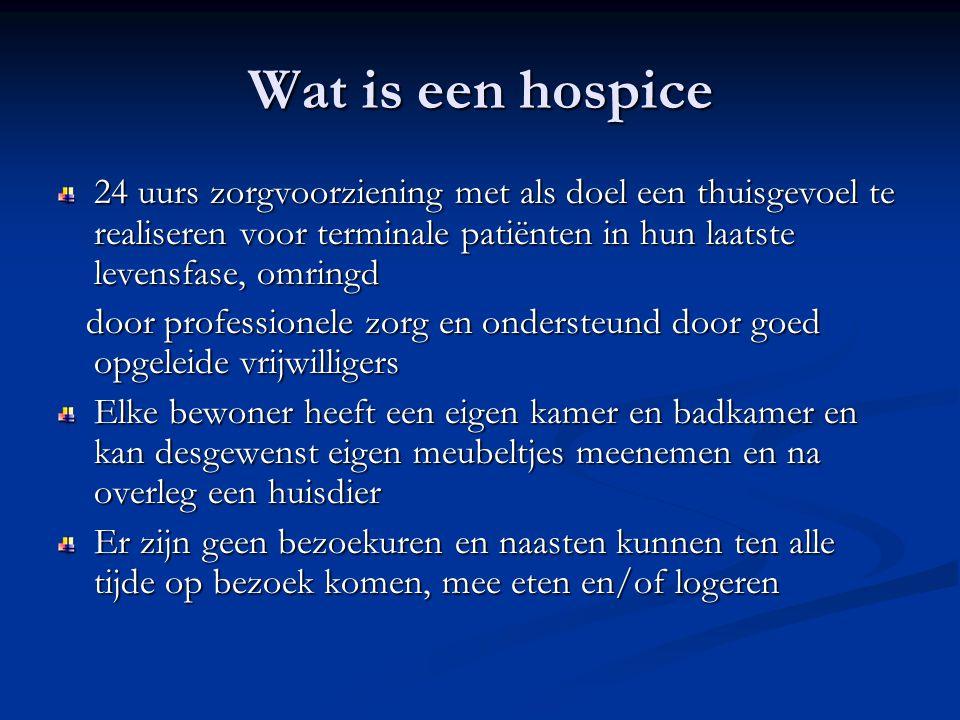 Wat is een hospice 24 uurs zorgvoorziening met als doel een thuisgevoel te realiseren voor terminale patiënten in hun laatste levensfase, omringd.