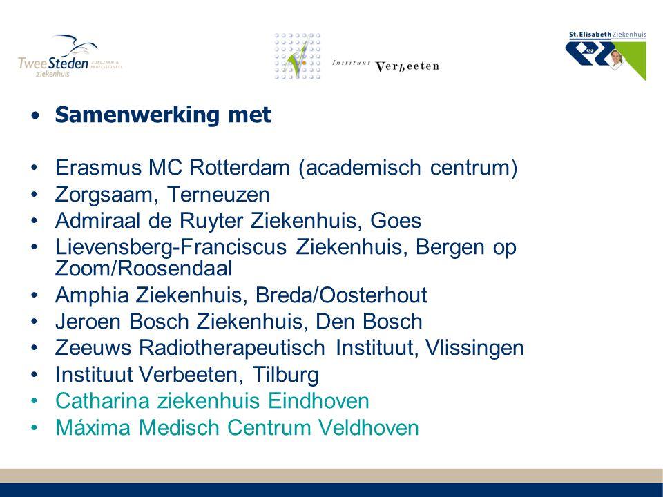 Samenwerking met Erasmus MC Rotterdam (academisch centrum) Zorgsaam, Terneuzen. Admiraal de Ruyter Ziekenhuis, Goes.