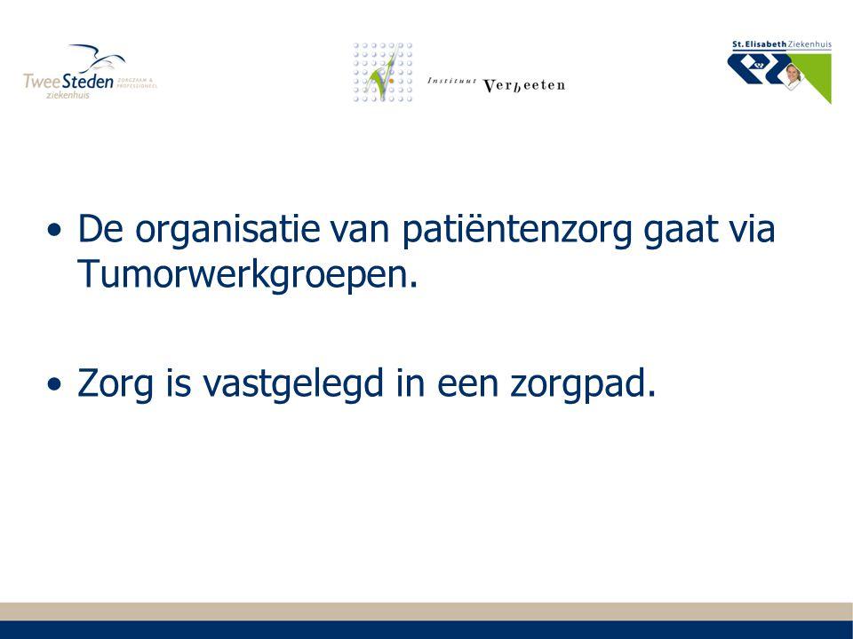 De organisatie van patiëntenzorg gaat via Tumorwerkgroepen.