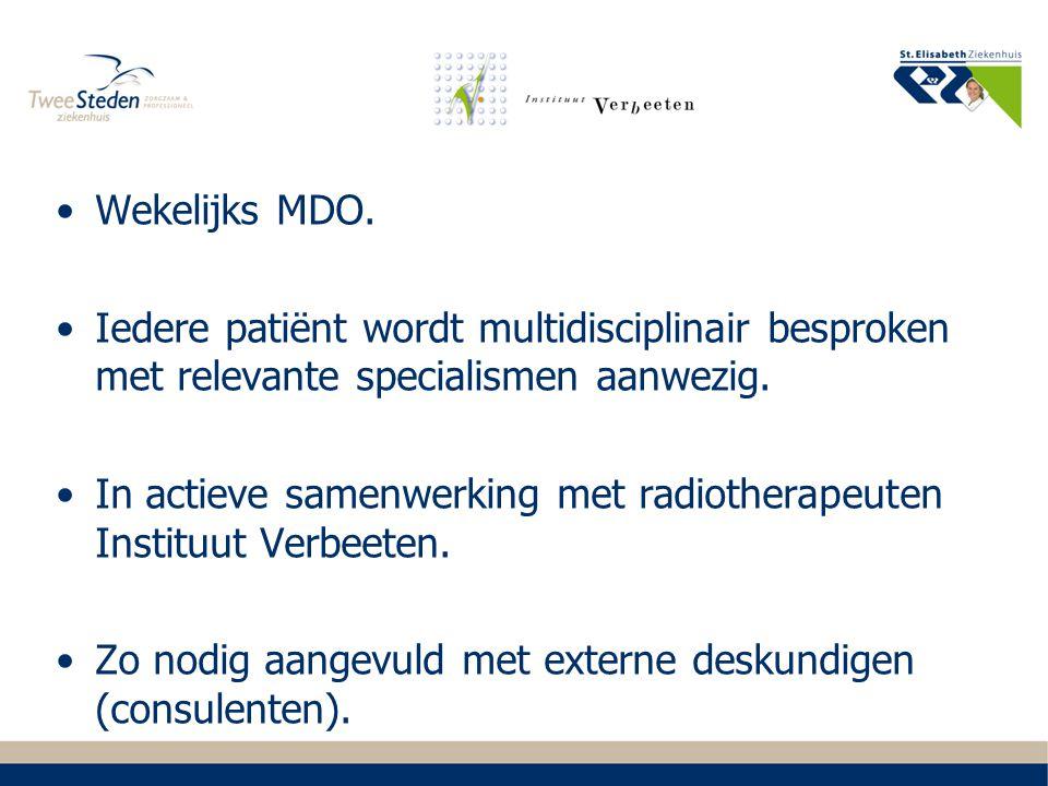 Wekelijks MDO. Iedere patiënt wordt multidisciplinair besproken met relevante specialismen aanwezig.