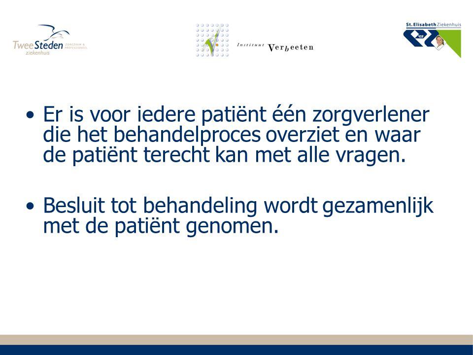 Er is voor iedere patiënt één zorgverlener die het behandelproces overziet en waar de patiënt terecht kan met alle vragen.