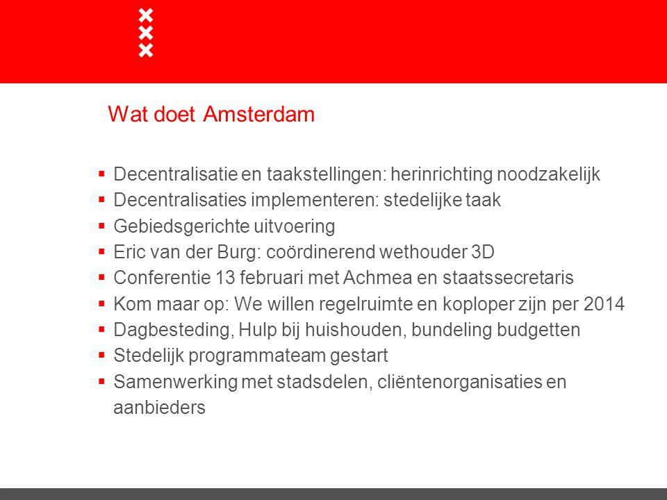 Wat doet Amsterdam Decentralisatie en taakstellingen: herinrichting noodzakelijk. Decentralisaties implementeren: stedelijke taak.