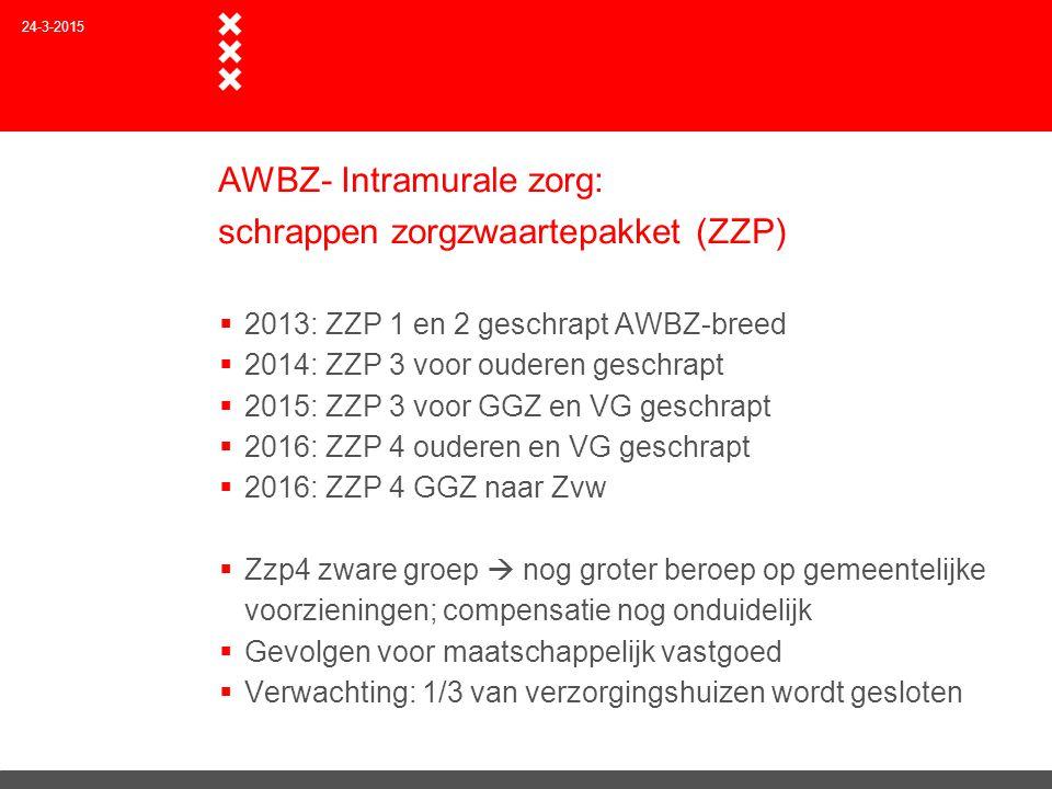 AWBZ- Intramurale zorg: schrappen zorgzwaartepakket (ZZP)