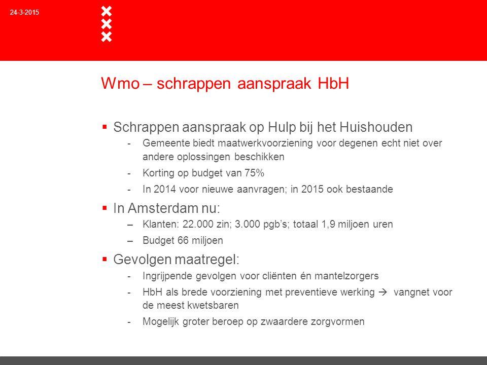 Wmo – schrappen aanspraak HbH