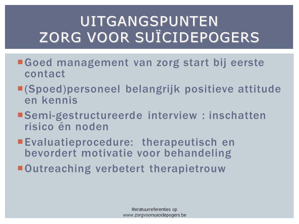 Uitgangspunten zorg voor suïcidepogers
