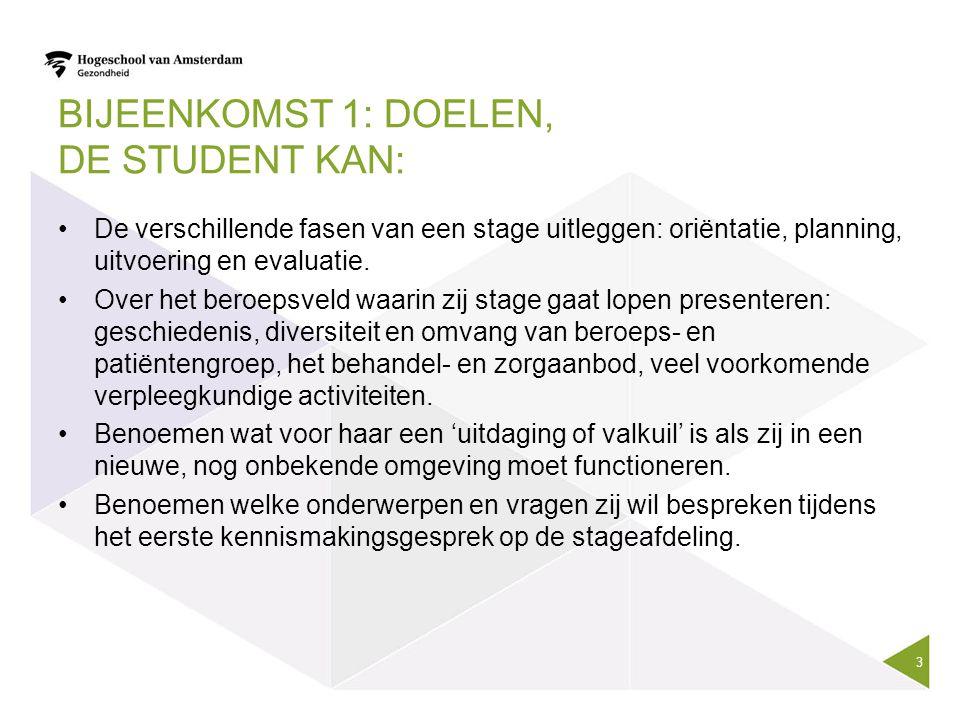 Bijeenkomst 1: Doelen, De student kan: