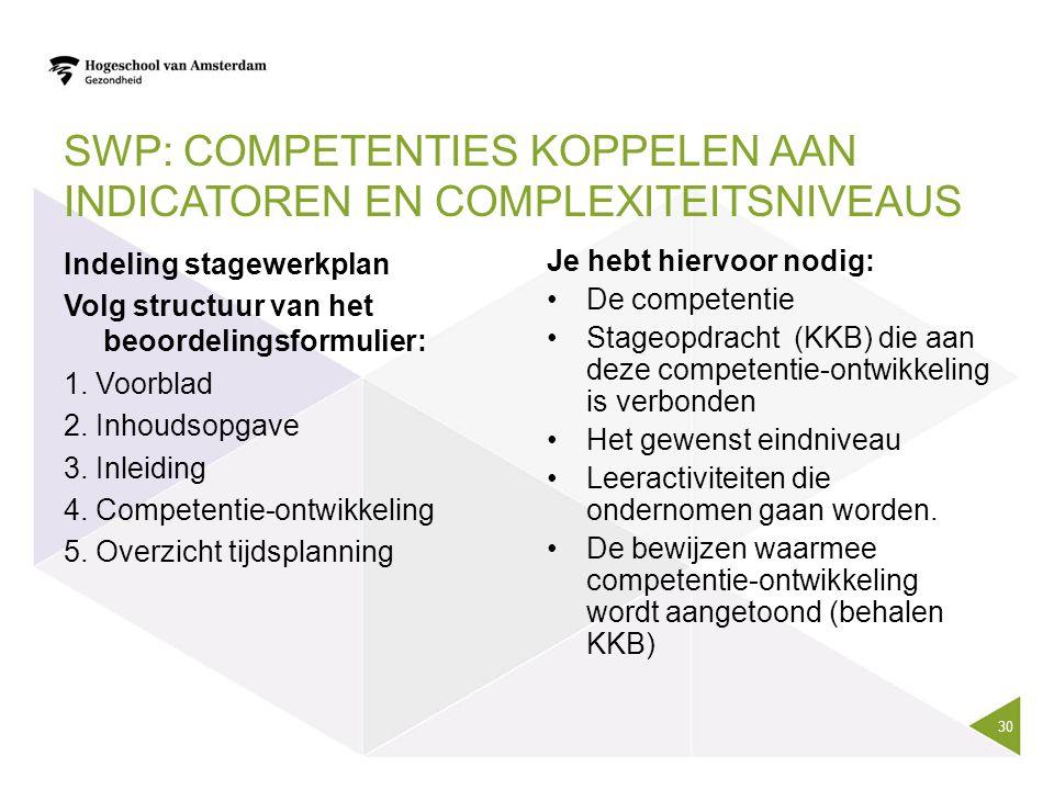 SWP: Competenties koppelen aan indicatoren en complexiteitsniveaus