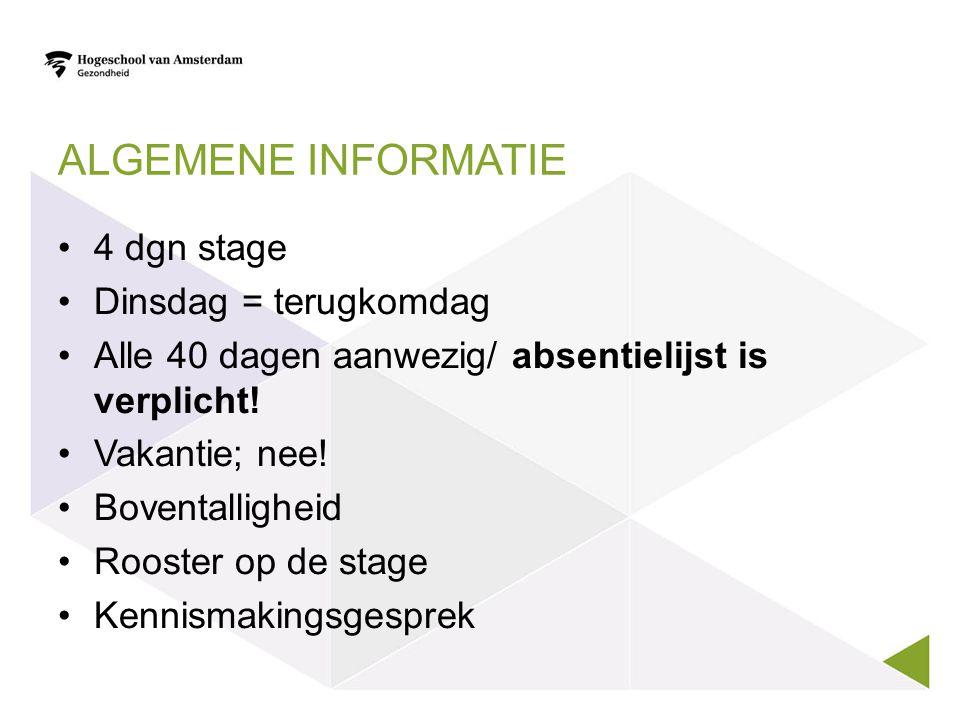 Algemene informatie 4 dgn stage Dinsdag = terugkomdag