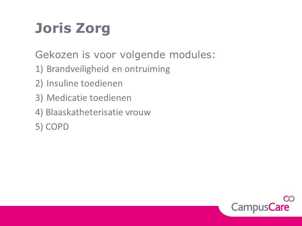 Joris Zorg Gekozen is voor volgende modules: